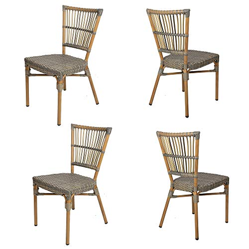LUCKYERMORE Wicker Dining Chair Set of 4 Patio Lawn Backyard Cafe Chairs All Weather Outdoor Lightweight Armless Chair
