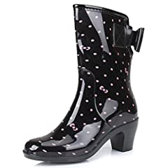 Women's Sweet Printed Mid Chunky Heels Bows Mid Calf Rain Boots Wellies