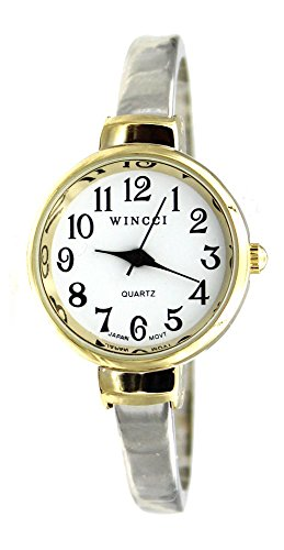 Women's Classic Dainty Easy Read Two Tone Bangle Cuff Watch (Cuff Two Tone)