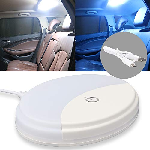 Auto Car Ceiling Roof Lights Dual-color Fixture with Universal USB Rechargeable Wireless 10 LEDs Car Dome Ceiling Lamp for Interior and Exterior of Car, Boat, Trailer, Motorhome,Truck