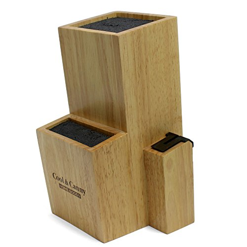 Cool & Canny 2 Tier Universal Bamboo Knife Block with Knife Sharpener (Block Slotless Knife)
