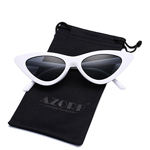 AZORB Women's Vintage Inspired Fashion Cat Eye Sunglasses Plastic Frame Colored Lens ()