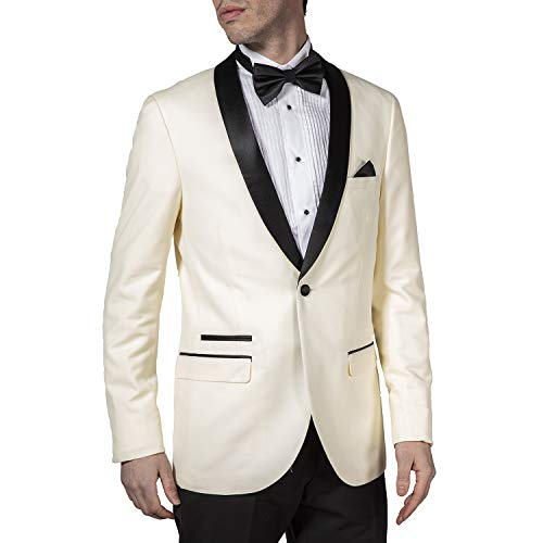 Adam Baker West End Men's 9-3440 Slim Fit One Button Satin Shawl Collar 2-Piece Tuxedo Suit - Ivory-46S