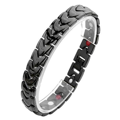 JOVIVI Unisex Magnetarmband Edelstahl Magnetisch Armreif Magnete Armband Armrief, Pfeil Herz Stil Schwarz