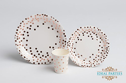 Rose Gold Dot Disposable Paper Plates and Cups Set for 50; Metallic Design 50 Dinner Plates 50 Dessert Plates and 50 9 oz Cups for Bridal Baby Shower Wedding Anniversary Engagement Birthday Party