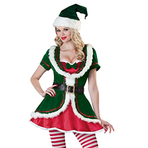 Sexy Christmas Suit (Quesera Women's Santa Helper Costume Adult Christmas Honey Elf halloween Outfits,Green,one size fits US size 4-8)