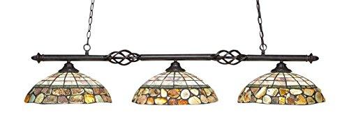 Toltec Lighting 863-DG-973 Elegante 3 Light Bar with 16″ Cobblestone Tiffany Glass, Dark Granite Finish