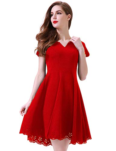 Aphratti Women's Cute Scallop Short Sleeve Casual Skater Dress Cocktail Party X-Large Red