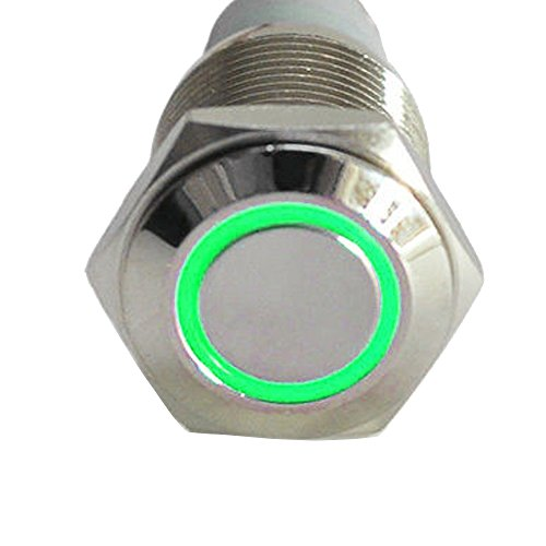 - ESUPPORT 12V 5A Car Auto Boat Green Angel Eye LED Light Lamp Metal Push Button Rocker Toggle Switch On Off