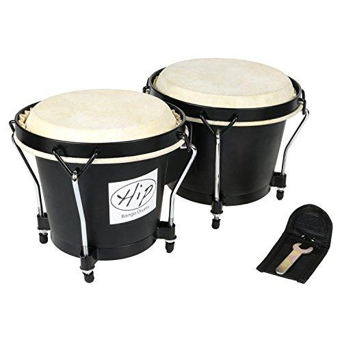 Mini Matador Costumes (Hip Bongo Drums | 2pcs Beautiful Tunable Bongo Drums with Natural Hides and Shells | Durable Weatherproof Safe Nickel Wood Metal Hide Materials for Music Lovers Enthusiasts | Black | 266.2)