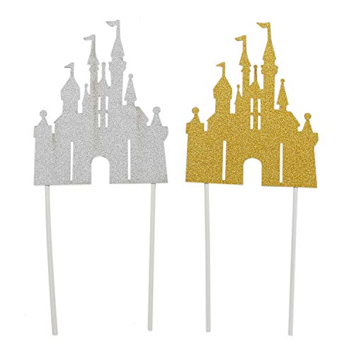 IDS 5.5 inch Castle Cake Decoration Cake Topper for Princess Prince Kids Birthday Baby Shower Cake Decoration - Silver Glitter Gold Glitter