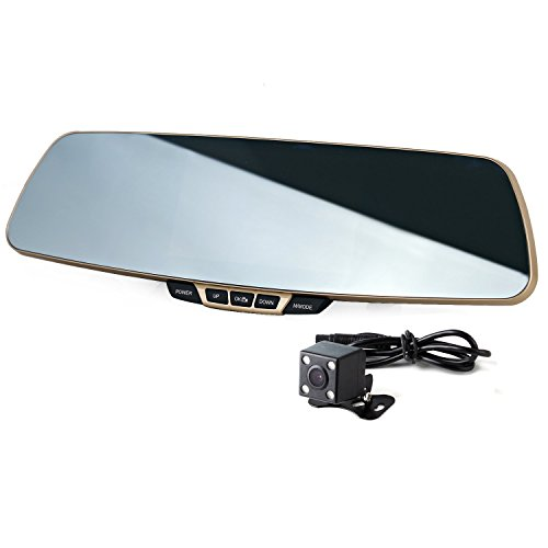 Dual Lens Car Camera, Car Video Dash Cam Rearview Mirror Recorder for Vehicles Front and Rear DVR, Full HD 1080P, G-Sensor and Parking Monitor (Spy Camera Inside Car compare prices)