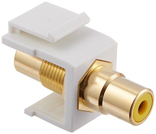 Monoprice Modular RCA Coupler Keystone Jack - White with Yellow Center