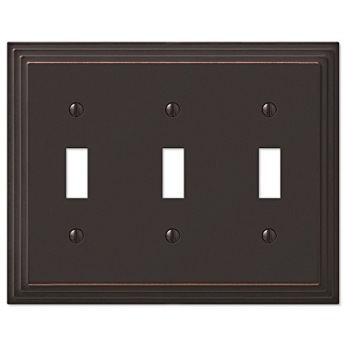 - Step Design Triple Toggle Wall Switch Plate Cover - Oil Rubbed Bronze