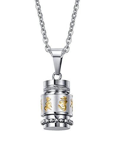 PJ Jewelry Stainless Steel Rotatable Buddhist Mantra OM MANI Padme HUM Remembrance Cremation Urn ()