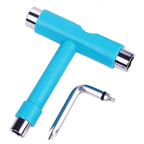 All-In-One T Skate Tools - New Design Multi-function and Portable Tool for Peny Board and Longboard Screwdriver (T-Blue)