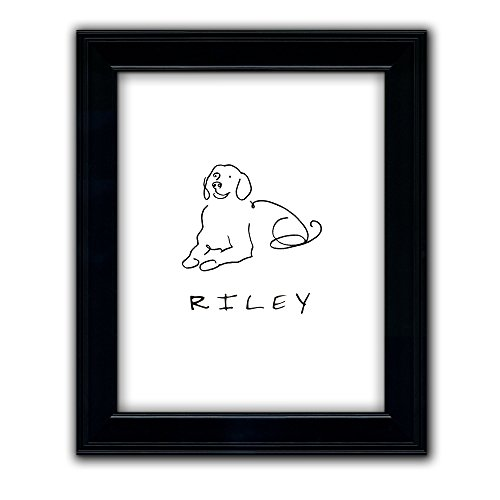 Golden Retriever - Personalized Framed Dog Line Drawings - Perfect and Unique Gift for Dog Lovers! (Art Personalized Pet)