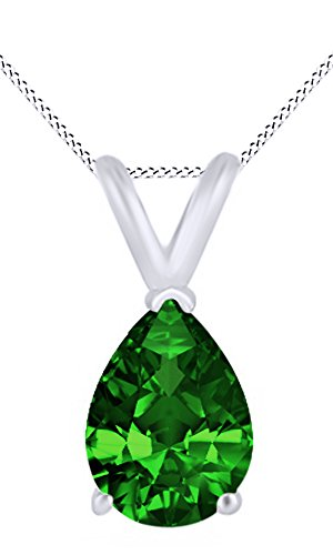 Jewel Zone US AFFY Women's Classic Simulated Emerald Pear Shape Pendant Necklace in 10k Solid White Gold (3.5 cttw)