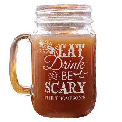 GiftsForYouNow Halloween Message Personalized Mason Jar, 16 oz. ()