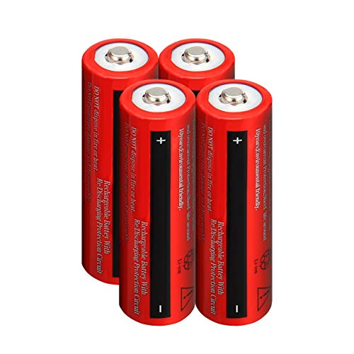 Lightbole 4PCS Li-ion Rechargeable 18650 Batteries 3.7V 4000AMH Button Top for Led Flashlight, Toys, Household Appliance