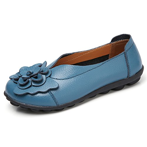 Slip Shoes Women Flat for Driving LINGTOM blue E Loafer Slippers on Moccasin 01 Girls Casual q8tgB
