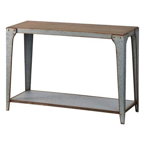 (251 First River Station Galvanized Metal Console Table with Wood Top)