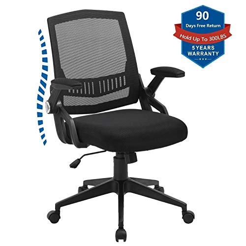 Office Chair, Ergonomics Computer Desk Chairs, Swivel Task Chairs with Flip-up Arms and Agile Height Adjustment, Load Up to 300LBS,Upgraded Black Thick Cushion (ONE Size, Black)