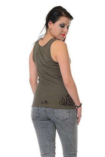 Cotton sin Berlin corta mangas estampado Army Camiseta 3elfen de Verano Tanktop Top Prairie flores Camiseta Elfos con 45HnR6q