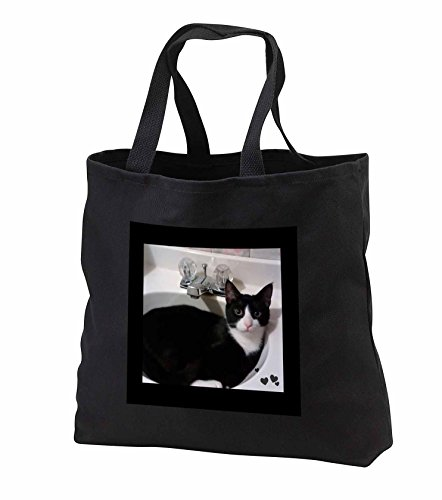 charlyn-woodruff-cw-designs-cat-photography-cute-black-white-tux-cat-curled-up-in-sink-photo-tote-ba