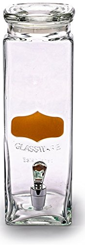Tall Water Dispenser (Circleware Tall Square Gold Metallic Chalkboard Yorkshire Mason Glass Beverage Drink Dispenser with Glass Lid, 2.5 quarts, Gold)