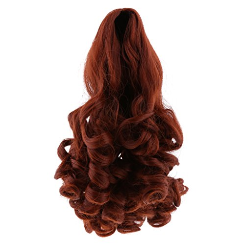 Baoblaze 8 Colors 27cm Elegant Long Wavy Curly Hair Hairpiece for 18inch American Girl Dolls Wig DIY Making & Repairs Accessory - Red