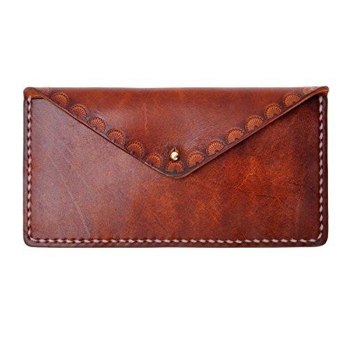 ZLYC Women Handmade Vegetable Tanned Leather Long Minimalist Slim Cash Holder Wallet Clutch, Brown