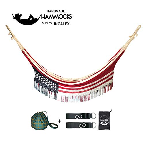 Ingalex Hammock with The Flag of The United States Exclusive Wayuu Hammock Double XL Handmade by Indigenous People of Venezuela and Colombia. Unique Pieces. (red and White)