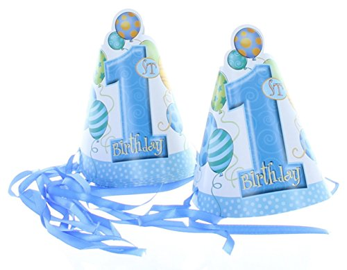 Blue Cone Party Hats (Blue 1st Birthday Party Hats, 8ct)