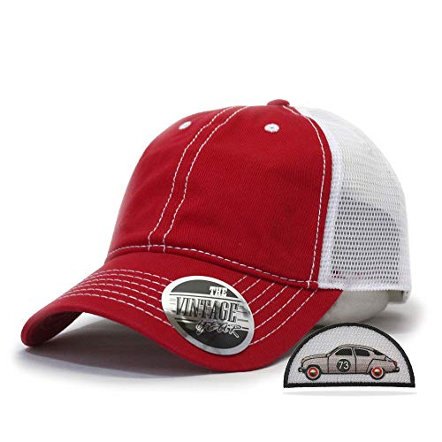 Vintage Year Washed Cotton Low Profile Mesh Adjustable Trucker Baseball Cap (Red/Red/White)