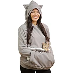 KITTYROO Cat Hoodie, The Original AS SEEN ON TV Kitty Carrying Sweatshirt, with Super Soft Kangaroo Pet Pouch (X-Large)
