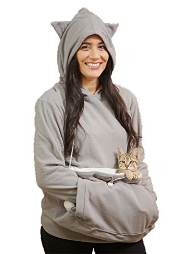 KITTYROO Cat Hoodie, The Original AS SEEN ON TV Kitty Carrying Sweatshirt, with Super Soft Kangaroo Pet Pouch (X-Large) Grey