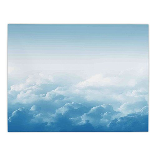 - Polyester Rectangular Tablecloth,Clouds,Fluffy Clouds High above Ground Mass of Condensed Water Vapor Floating Dream Image,Blue White,Dining Room Kitchen Picnic Table Cloth Cover,for Outdoor Indoor