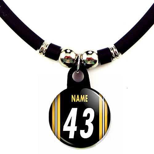 Custom Pittsburgh Football Jersey Necklace with Name and (Custom Steelers Jersey)