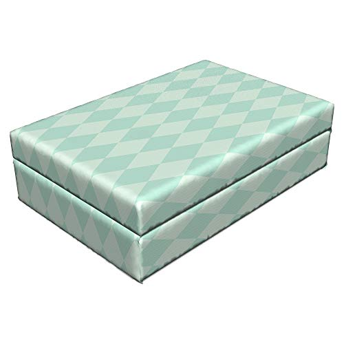 """Lunarable Argyle Pet Bed, Soft Toned Pastel Diamond Shapes with Old Fashioned Vintage Argyle Motif, Animal Mat Foam and Stylish Printed Cover, 24"""" x 16"""" x 6"""", Mint Green and Seafoam"""