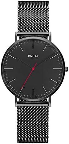 女性のためのシンプルなアナログウォッチ、ミラネアメッシュバンド、防水クォーツドレス腕時計を持つ超薄型ミニマムウォッチ (色 : 黒)