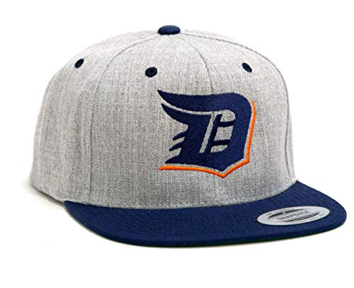 Detroit D Baseball Hat Flexfit Classic Snapback 2-Tone Adjustable Hat (Tigers Colors: Gray/Navy/Orange)