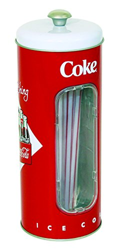 41F 2B5aU2rbL - Coca-Cola Collectible Tin Straw Holder with 50 Straws