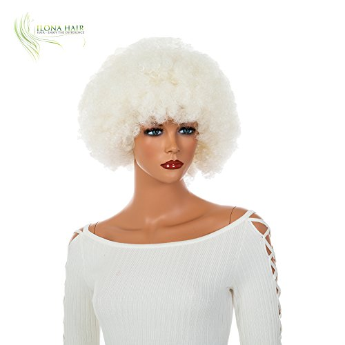 White Afro Wig Clown for Woman and Man Party and Halloween Black White Blue Pink Purple Yellow Orange Green Curly Hair Small Clown Wig Afro LUX (613A)]()