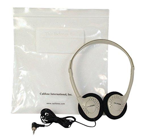Califone Wireless Headphone - Califone CA-2 Individual Stereo Headphones with Resealable Storage Bag