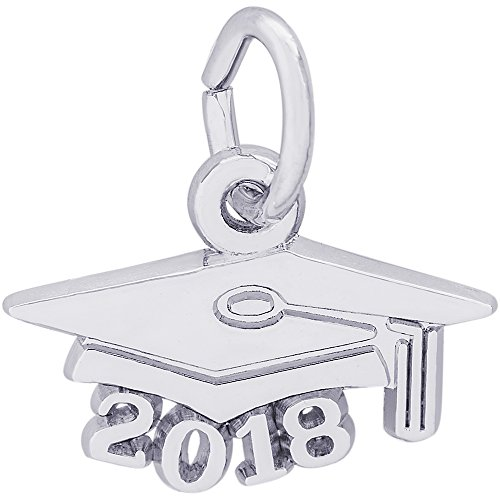Rembrandt Charms Sterling Silver Grad Cap 2018 Charm (8 x 13.5 mm)