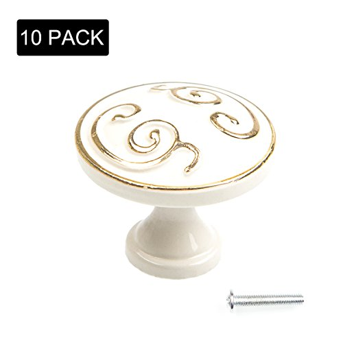 Eliseo 10 Pack Door Knob Pull Handles, Ivory White with Gold Edge, Cabinet Cupboard Handle Knobs, Kitchen Door Wardrobe Hardware Handles with Mounting Screws for Drawer, Chest, Bin, Dresser