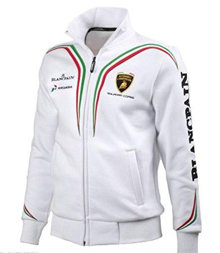Lamborghini Squadra Corse White Sweatshirt - Embroidered Ferrari Sweatshirt