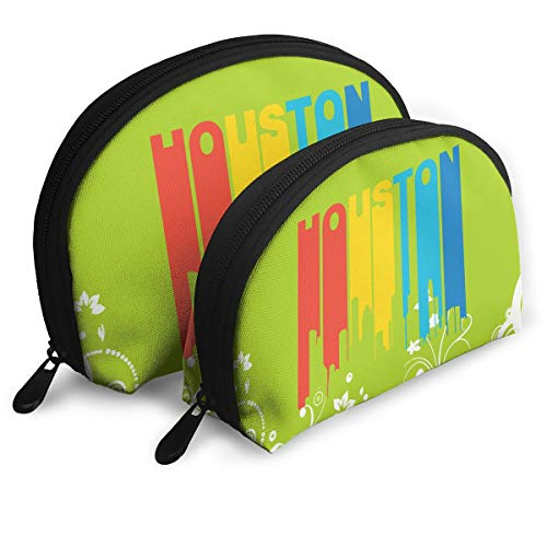 Retro 1970's Style Houston Texas Skyline Shell Makeup Women's Girl's Travel Cosmetic Bags Makeup Pouch Tote Toiletry Bag ()