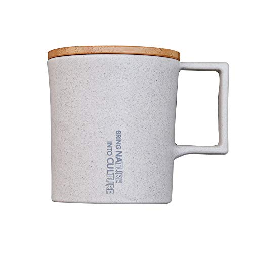 Water Drop Mug/Beige/Lid : Bamboo/Body : Straw + PP, Eco-Friendly, Eco-Friendly, 11.5 oz